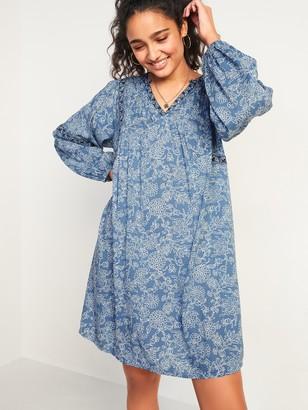 Old Navy Floral-Print Split-Neck Swing Dress for Women