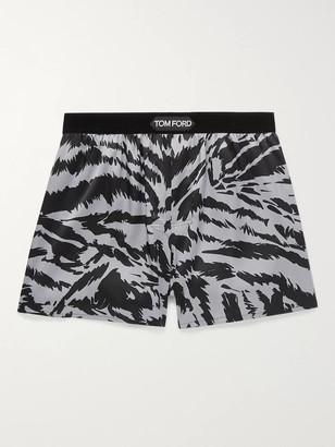 Tom Ford Velvet-Trimmed Zebra-Print Stretch-Silk Satin Boxer Shorts