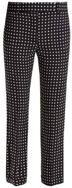 Haider Ackermann Slim Fit Polka Dot Print Trousers - Womens - Black White