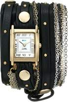 La Mer Women's LMDUOSTUD001 Black Gold Stud Venice Gold Bracelet Wrap Watch