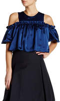Jill Stuart Off the Shoulder Ruffle Silk Blouse