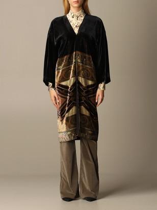 Etro Kimono Coat In Velvet With Paisley Pattern