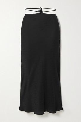 Reformation Eden Tie-detailed Silk-jacquard Midi Skirt - Black