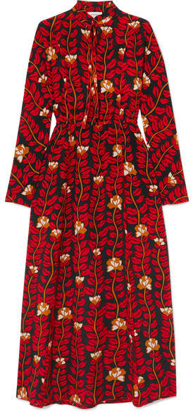 Sonia Rykiel Printed Silk Crepe De Chine Dress - Red