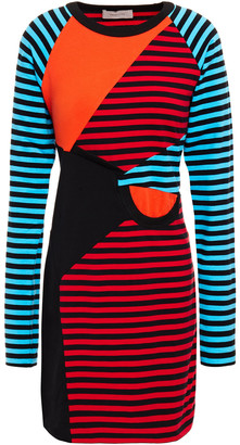 Preen Line Ruched Color-block Cotton-jersey Mini Dress