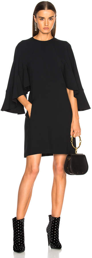 Chloé Light Cady Ruffle Sleeve Mini Dress