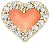 Alison Lou Women's 14 ct Yellow Gold Diamonds and Coral Enamel Heart Single Stud Earring