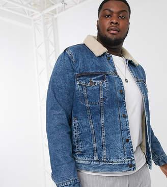 Topman Big & Tall denim borg jacket in washed blue