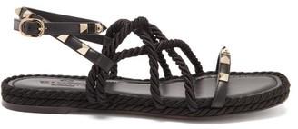 Valentino Torchon Rockstud Leather Sandals - Black