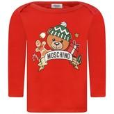 Moschino Girls Red Festive Teddy Print Top