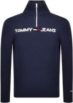 Tommy Jeans Half Zip Knit Sweatshirt Navy