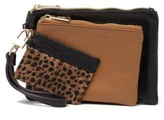 Aimee Kestenberg Havana Leather & Genuine Calf Hair 3-Piece Wristlet Travel Set