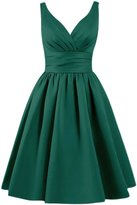 Azbro Women's Simple V Neck A-line Bridesmaid Dress, L