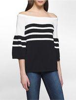 Calvin Klein Womens Off-Shoulder Bell Sleeve Striped Sweater