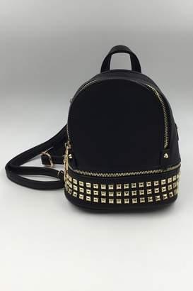 Private Label Sapphire Sky Vegan Black-Leather Mini-Backpack