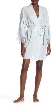 Flora Nikrooz Sleepwear Aliza Jacquard Lace Trim Wrap Robe