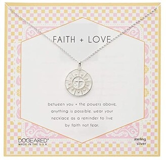 Dogeared Faith Love Cross Medallion Necklace (Sterling Silver) Necklace
