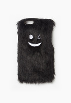 Missguided Black Wink Face Faux Fur iPhone 6 Case