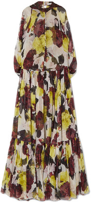 Erdem Julianne Ruffled Floral-print Silk-chiffon Gown