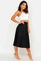 boohoo Arianna Plain Full Circle Midi Skirt black