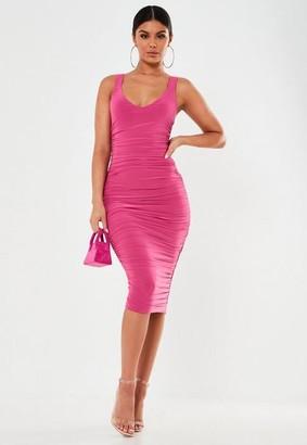 Missguided Petite Pink Sleeveless Slinky Midi Dress