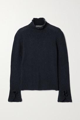 Philosophy di Lorenzo Serafini Ruffled Metallic Cashmere-blend Turtleneck Sweater - Navy