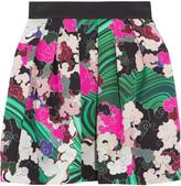 Mary Katrantzou Algernon pleated printed cloqué mini skirt