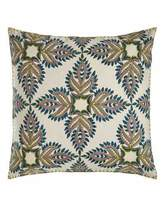 "John Robshaw Verdin Blue/Green Block Print Pillow, 26""Sq."
