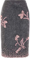 Prada Embellished Mohair-blend Pencil Skirt - Gray