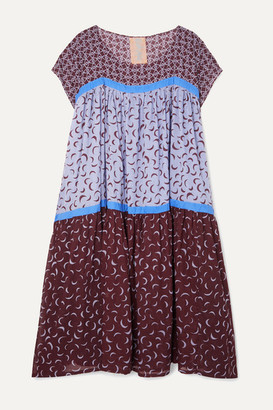Yvonne S Tiered Printed Cotton-voile Midi Dress - Blue