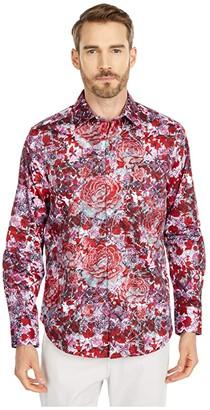 Robert Graham Blood Rose Button-Up Shirt (Red) Men's Short Sleeve Button Up