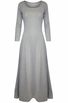 Pure Fashion Womens Ladies Celebrity 3/4 Sleeves Plain Stretchy Flared Swing Long Maxi Dress /COLOR: GREY /SIZE: M-L