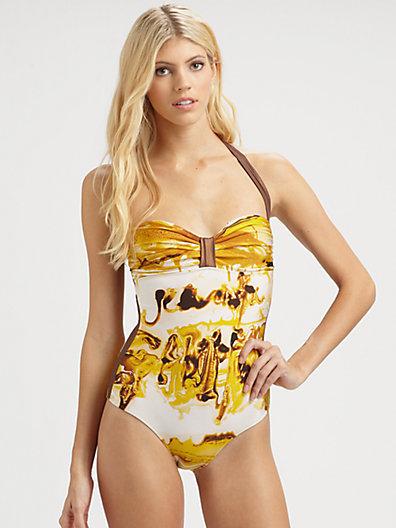 Jean Paul Gaultier One-Piece Graffiti Halter Swimsuit