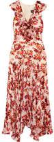 Saloni Rita Ruffled Printed Devoré Satin And Chiffon Midi Dress - Red