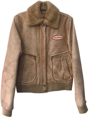 Chevignon Beige Leather Leather Jacket for Women