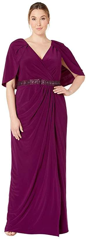 Plus Size Long Draped Jersey Dress with Capelet