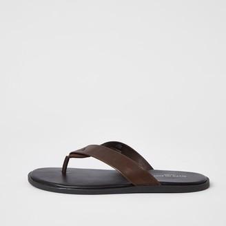 River Island Mens Dark Brown leather flip flops