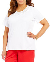 Allison Daley Plus Short Sleeve Embellished Crew-Neck Solid Knit Top