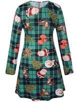 RUIYIGE Girl Fit and Flare Long Sleeve Elves Bird Reindeer Santa Xmas Print Skater Dress
