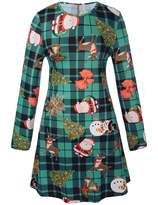 RUIYIGE Women Long Sleeves Santa Christmas Tree Xmas Gifts Print Flared Swing Dress Top XL