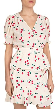 The Kooples Naive Cherry Silk Crossover Top