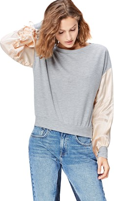 Find. Amazon Brand Women's Sweatshirt with Satin Sleeve and Crew Neck