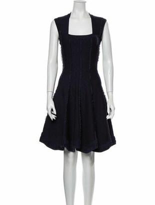 Alaia Square Neckline Knee-Length Dress Blue