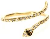 Ileana Makri 18kt Gold Small Python Ring With White And Green Diamonds