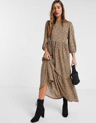 Stradivarius tiered midi dress with dots in beige