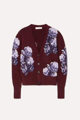Chloé Jacquard-knit Cardigan - Burgundy