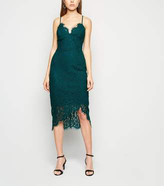 New Look Lace Asymmetric Wrap Midi Dress