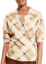Lauren Ralph Lauren Petite Petite Plaid Crepe Wrap Shirt