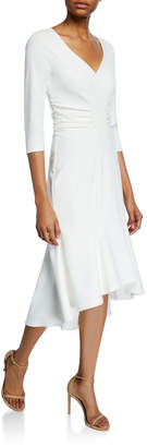 Halston Wide V-Neck Ruched Waist High-Low Crepe Dress
