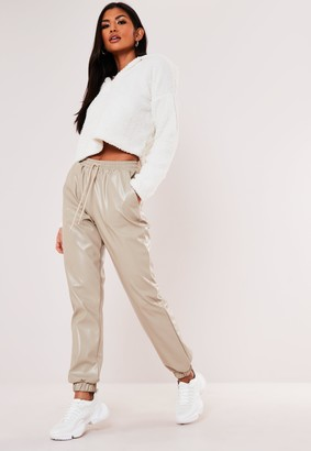 Missguided Stone Faux Leather Joggers